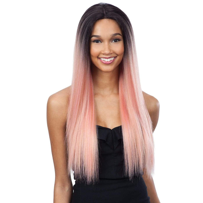 EVLYN l FreeTress Synthetic Premium Delux Lace Front Wig - Hair to Beauty l Color Shown: ROSEGOLD