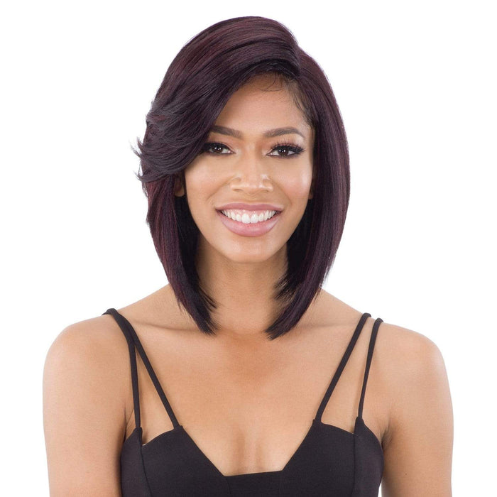 FLOWY BANG | Lace Part Synthetic Wig | Color Shown: NHMAROON - Hair to Beauty
