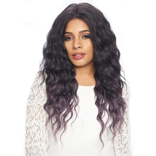 FLS52 | Harlem125 Synthetic 13x6 Swiss Lace Wig - Hair to Beauty | Harlem125 Model Color: T1B/ASH PURPLE