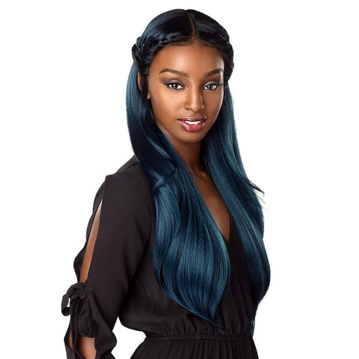 FRONTAL YAKI FEATHER 16″ 18″ 20″ | Sensationnel Shear Muse Synthetic Weave Bundle - Hair to Beauty | Color Shown : OM/DKTEAL