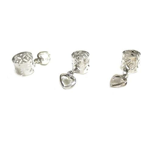 BF112 | Silver Filigree Tube with Crystal Heart Charm.