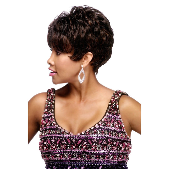 H205 | Vivica A. Fox Pure Stretch Cap Human Hair Wig - Hair to Beauty | Color Shown: FS1B/30