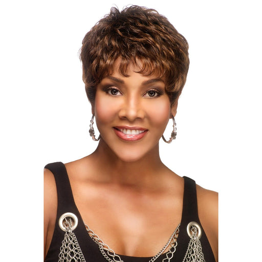 H222 | Vivica A. Fox Pure Stretch Cap Human Hair Wig - Hair to Beauty | Color Shown: P4/30