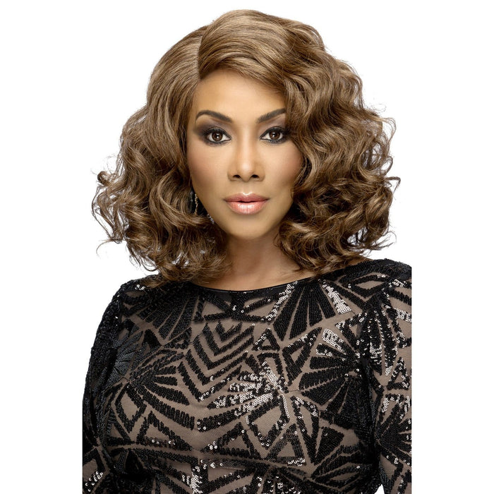 HARPER | Vivica A. Fox Synthetic Natural Baby Hair Invisible Part Swiss Lace Front Wig - Hair to Beauty | Color Shown: P4/27/30
