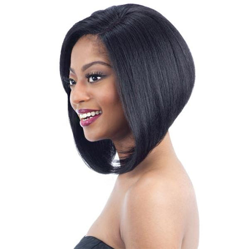 HAYMI l FreeTress Synthetic Lace front Deep Invisible L Part Wig - Hair to Beauty l Color Shown: 1B