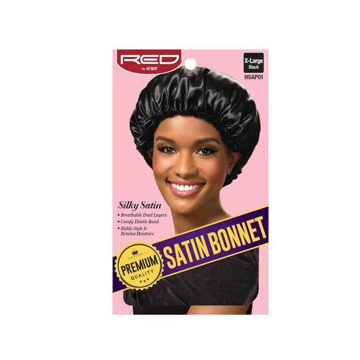 Red By Kiss | Premium Quality Satin Bonnet Silky Satin Black Color HSAP01 - Hair to beauty