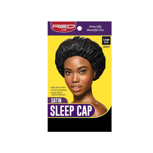 Red By Kiss | Satin Sleep Cap Silky Stin Fabric Black Color HSL01 - Hair to beauty