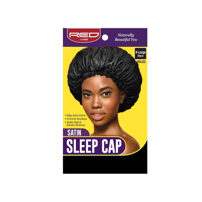 RED BY KISS | Satin Sleep Cap X-Large Black - HSL02.