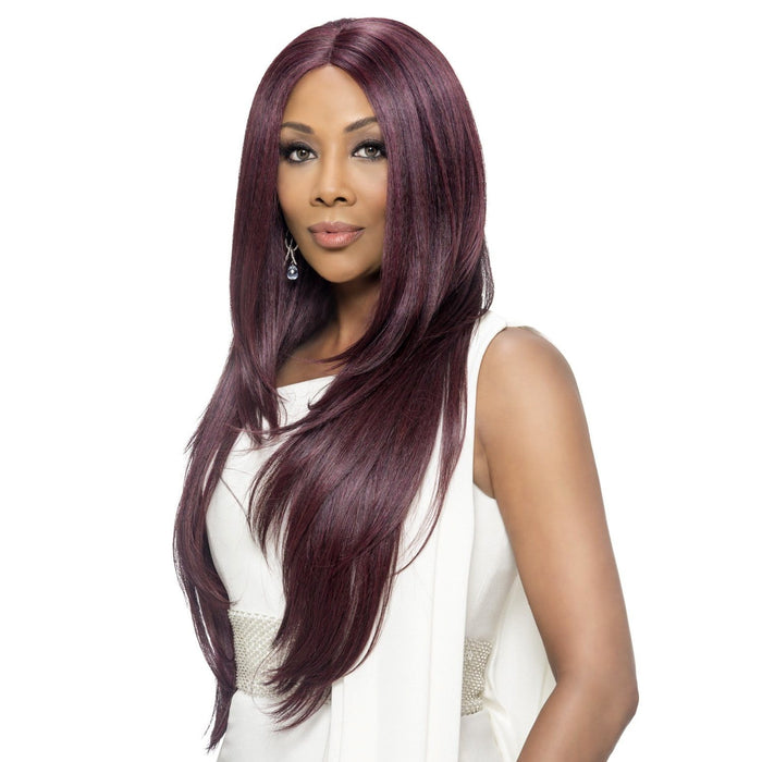 JAMIE | Vivica A. Fox Synthetic Invisible L Part Full Lace Front Wig - Hair to Beauty | Color Shown: CABERNET