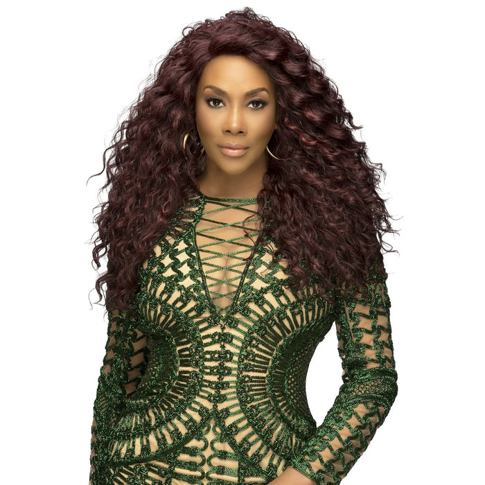 JULIA | Vivica A. Fox Synthetic Deep Full Swiss Lace Front Wig - Hair to Beauty | Color Shown: 99J