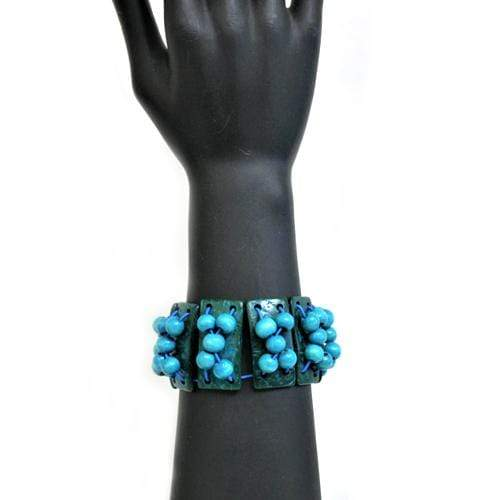 B0198 | Stretchy Blue Shell Bar and Beads Bracelet - Hair to Beauty