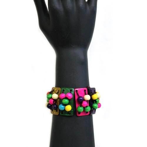 B0201 | Stretchy Multi-Colored Shell Bar and Beads Bracelets  - Hair to Beauty