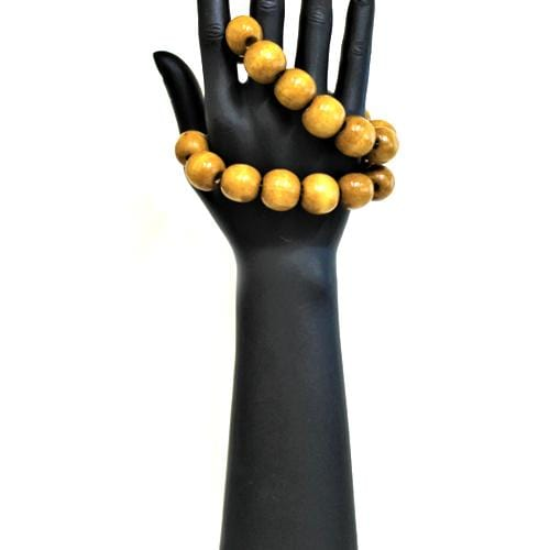 B0204 | Big Brown Wooden Bead Bracelet.