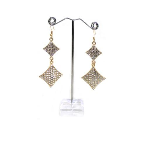 E0003 | Gold Rhinestone Double Diamond Earring - Hair to Beauty