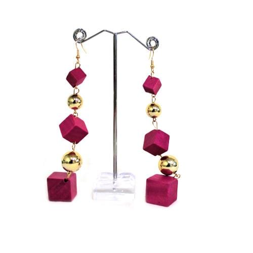 E0007 | Dangling Pink Wooden Cube Earrings - Hair to Beauty