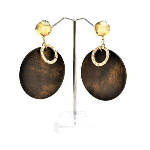 E0206 | Dark Brown Wooden Disc with Rhinestone Ring Earrings.