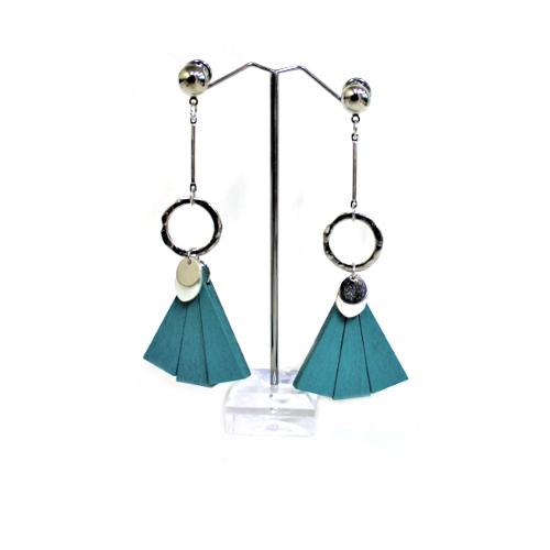 E0222 | Silver Earring with Dangling Teal Wooden Fan - Hair to Beauty