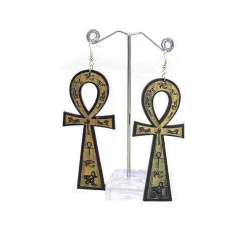 E0223 | Black Wooden Ankh with Hieroglyphs Earrings - Hair to Beauty