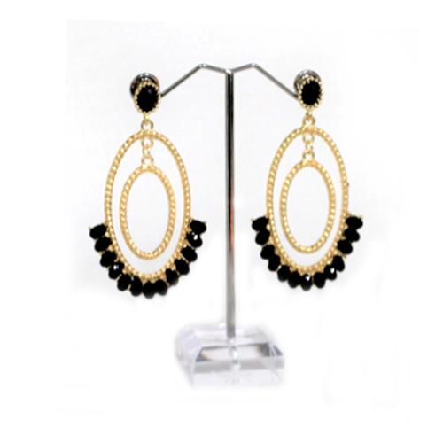 E0236 | Gold Double Oval Hoop Earrings with Black Gems