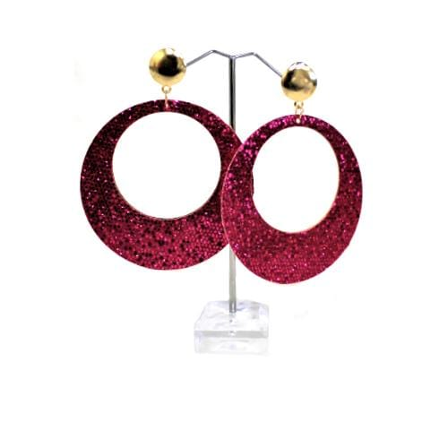 E0239 | Dangling Sparkly Pink Circular Earrings - Hair to Beauty