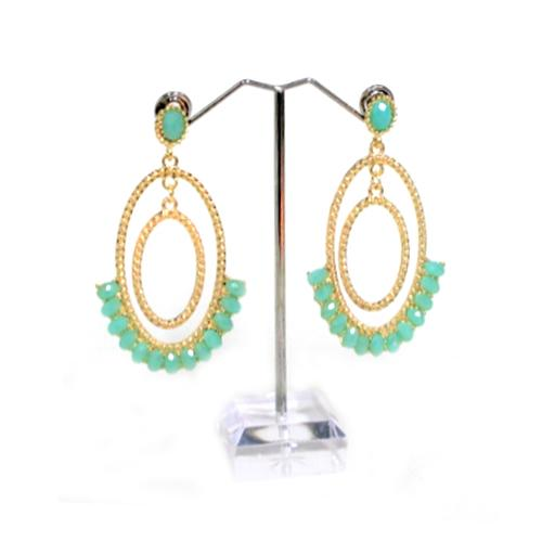 E0240 | Gold Double Oval Hoop Earrings with Teal Gems.