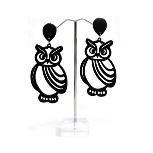 E0242 | Laser Cut Black Wooden Owl Earrings.