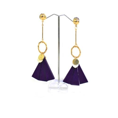 E0276 | Silver Earring with Dangling Purple Wooden Fan.