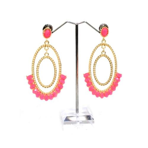 E0282 | Gold Double Oval Hoop Earrings with Pink Gems - Hair to Beauty