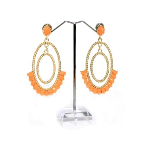 E0283 | Double Oval Hoop Earrings with Orange Gems - Hair to Beauty