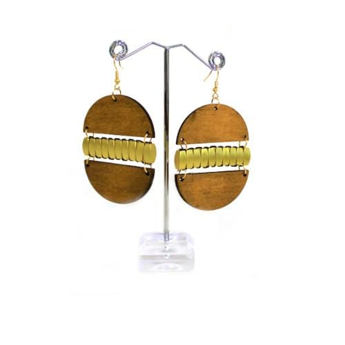 E0299 | Brown Wooden Egg Earrings - Hair to Beauty