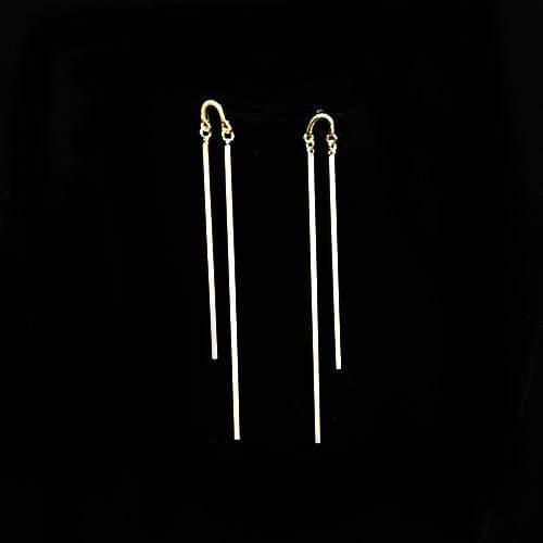 E0327 | Gold Double Bar Drop Earrings - Hair to Beauty