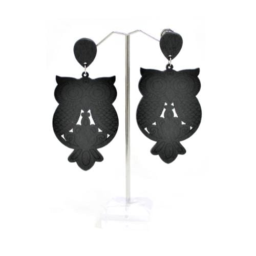 E0343-5 | Black Wooden Owl Earrings