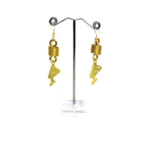 E0369-9 | Gold Coily Tube Earrings with Queen Pendant - Hair to Beauty
