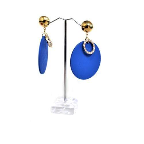 E0399 | Blue Wooden Disc with Rhinestone Ring Earrings - Hair to Beauty