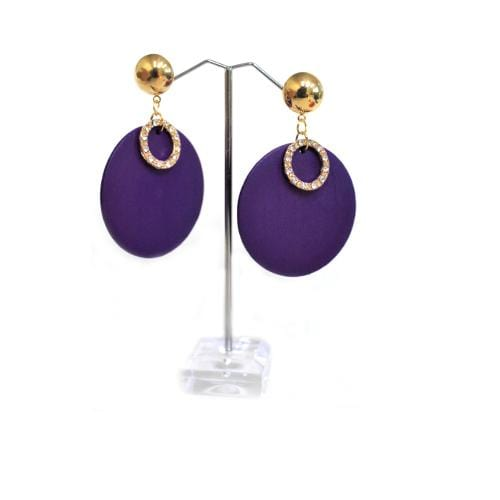 E0400 | Purple Wooden Disc with Rhinestone Ring Earrings.