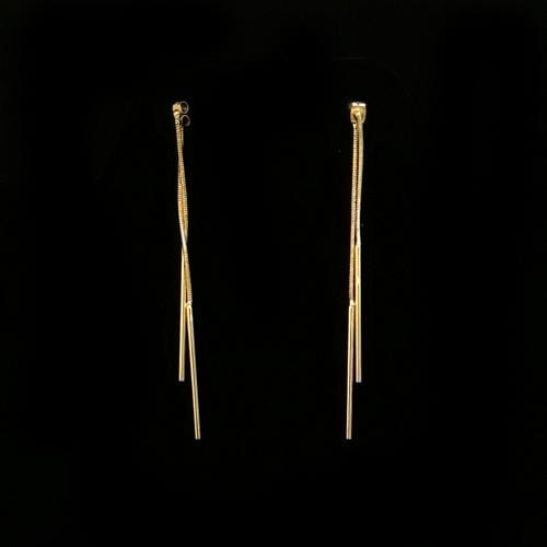 E0418 | Double Gold Chain Bar Drop Earrings - Hair to Beauty