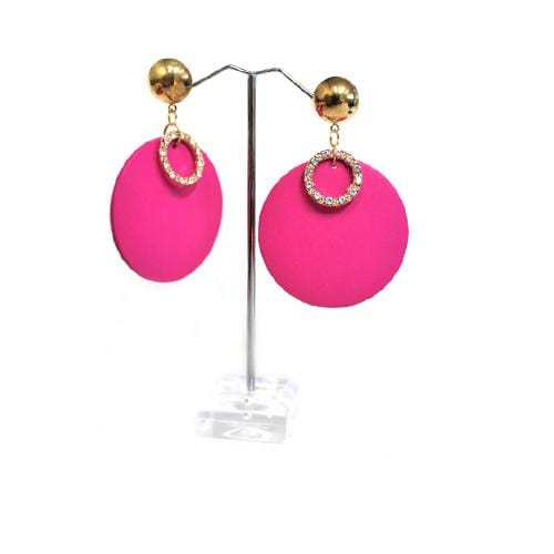 E0430 | Pink Wooden Disc with Rhinestone Ring Earrings - Hair to Beauty