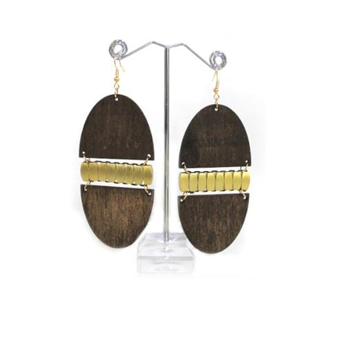 E0487 | Dark Brown Wooden Egg Earrings - Hair to Beauty