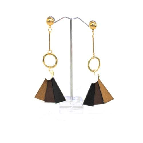E0555 | Gold Earrings with Dangling Wooden Fan - Hair to Beauty
