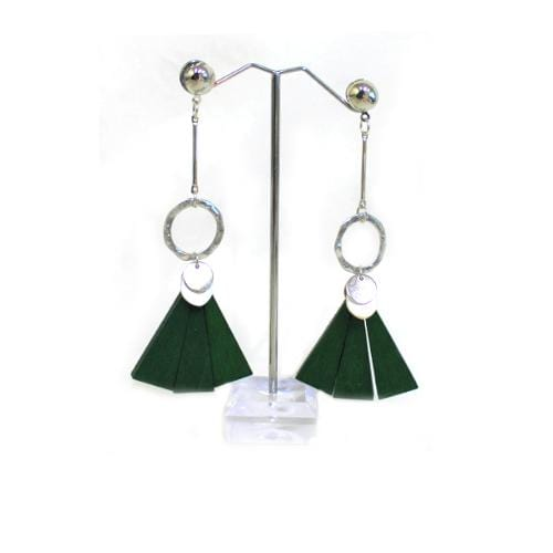 E0578 | Silver Earrings with Dangling Green Wooden Fan - Hair to Beauty