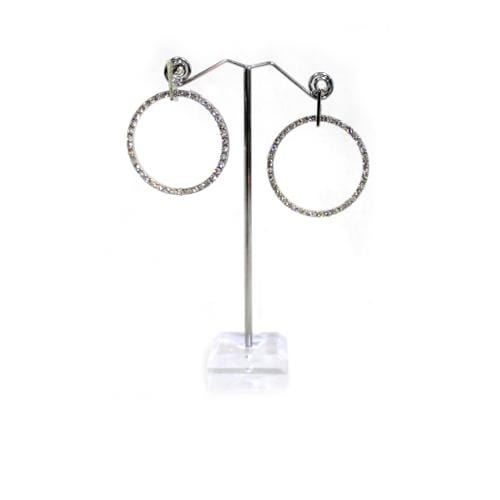 E0579 | Silver Hanging Rhinestone Hoop Earring  - Hair to Beauty