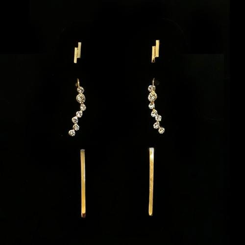 E0589 | 3 Sets of Minimalist Gold Earrings - Hair to Beauty