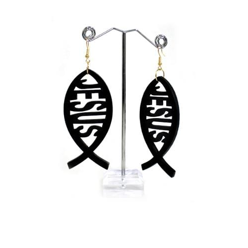 E0627 | Black Wooden Jesus Fish Earrings - Hair to Beauty