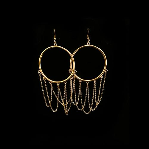 E0639 | Gold Hoop Earrings with Dangling Chains - Hair to Beauty