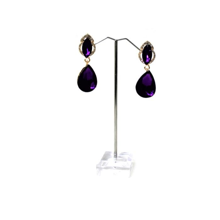 E0640 | Gold Dangling Purple Teardrop Gem Earrings - Hair to Beauty