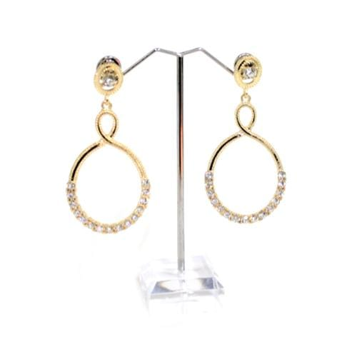 E0643 | Gold Twisted Earrings with Rhinestones - Hair to Beauty