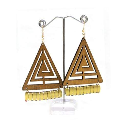 E0651 | Laser Cut Light Brown Wooden Triangle Earrings - Hair to Beauty