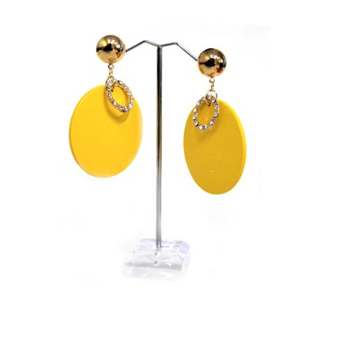 E0663 | Yellow Wooden Disc with Rhinestone Ring Earrings - Hair to Beauty