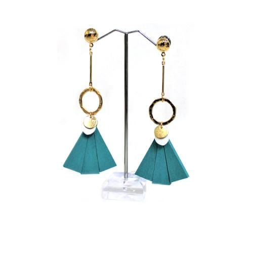 E0679 | Gold Earrings with Dangling Teal Wooden Fan - Hair to Beauty
