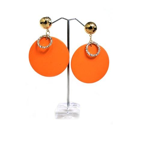 E0680 | Orange Wooden Disc with Rhinestone Ring Earrings - Hair to Beauty